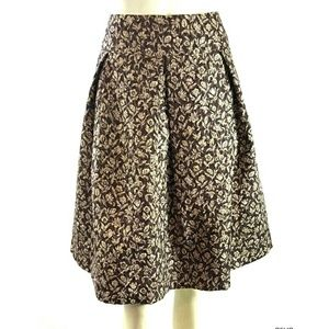 Kay Unger Pleated Embroidered Floral Silk Skirt